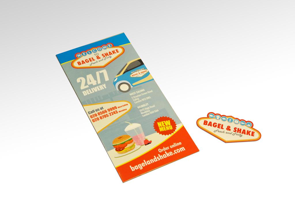 Bagel & Shake biz card and leaflet